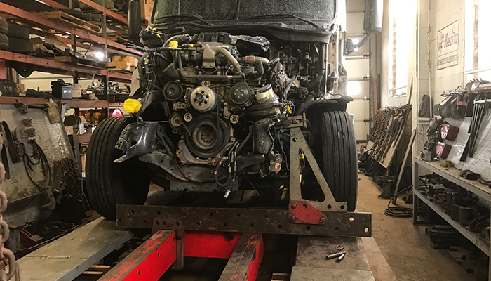 Shown:  Heavy duty truck having a frame repair completed.